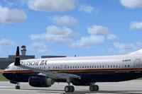 Screenshot of Deutsche BA Boeing 737-800 on the ground.