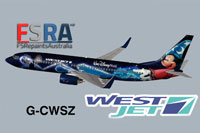 "Screenshot of the ""Disney Magic"" Westjet Boeing 737-800."