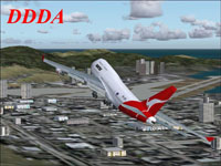 Screenshot of jetliner banking right over city scenery.