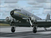 Screenshot of Douglas DC-3 with white and red propellers.