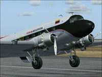 Screenshot of Douglas DC-3 with white propellers.
