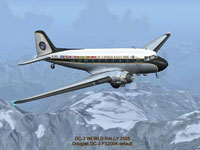 Screenshot of Douglas DC-3 World Rally 2005 in flight.