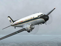 Screenshot of Douglas DC-3 World Rally 2008 in flight.