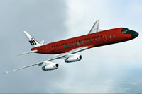 "Screenshot of ""Red Jellybean"" Douglas DC-8 in flight."