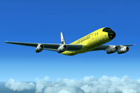 "Screenshot of ""Yellow Jellybean"" Douglas DC-8 in flight."