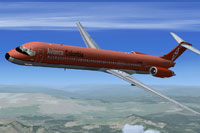 Screenshot of retro Avianca McDonnell Douglas in flight.