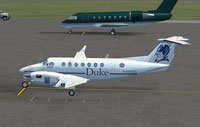 Screenshot of Duke University Beechcraft King Air 350 on the ground.