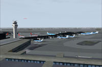 Aerial view of Schipol scenery.
