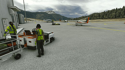 Screenshot of the Sandane Airport in Anda, Norway scenery add-on in Microsoft Flight Simulator (MSFS)