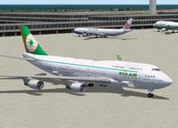 Screenshot of EVA Air Boeing 747-45E on the ground.