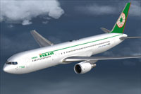 Screenshot of EVA Air Boeing 767-300 in flight.