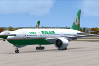 Screenshot of EVA Air Boeing 777-200 on the ground.