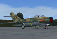 Screenshot of East Germany Air Force MiG-17 on the ground.