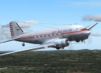 Screenshot of East-West Airlines Douglas DC-3 in flight.