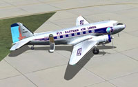 Screenshot of Eastern Airlines Douglas DC-3 on the ground.