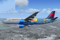"Screenshot of an A320 in ""Langley Girls"" livery."