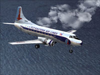 Eastern Airlines Martin 404 flying over the ocean.
