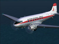 Screenshot of Eastern Provincial DC-3 flying over the ocean.