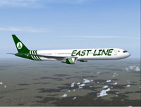 Screenshot of Eastline Boeing 767-400 in the air.