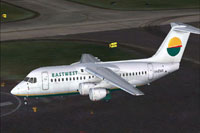 Screenshot of Eastwest Airlines Australia RJ100 on runway.
