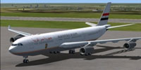 Screenshot of Egyptian Presidential Airbus A340-200 on the ground.