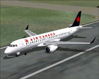 Screenshot of fixed Air Canada Embraer on runway.