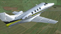 Screenshot of Embraer Phenom 100 PR-OVD in flight.