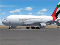 Screenshot of Emirates Airbus A380-100 on the ground.