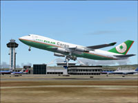 Screenshot of Eva Air Boeing 747-45EF/SCD taking off.
