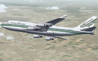 Screenshot of Evergreen Int'l Boeing 747-400F in flight.