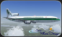 Screenshot of Evergreen International Lockheed L-1011-F TriStar in the air.