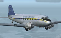 Screenshot of Everts Air Cargo Douglas DC-3 in flight.
