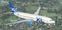 Screenshot of Excel Airlines Boeing 737-800 in flight.