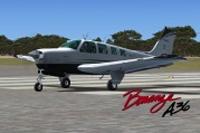 Screenshot of Executive Beech Bonanza A36 on runway.
