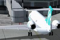 Screenshot of Air Bagan Fokker F-100 at the gate.