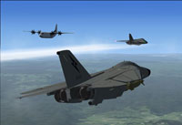 Screenshot of F-111's in the air.