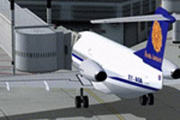 Screenshot of Myanma Airways Fokker F28-4000 at the gate.