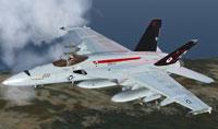 Screenshot of FA-18E Super Hornet in flight.