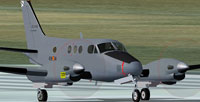 Screenshot of FAE Beechcraft King Air C90 on ruwnay.