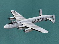 Screenshot of FAMA Avro Lancastrian LV-ACU in flight.