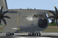 Screenshot of Airbus Cargo 400M on runway.