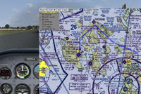 Screenshot showing map on display in the cockpit.