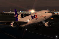 Screenshot of FedEx Lockheed L-1011 TriStar Freighter taking off.