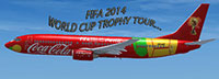 Screenshot of Boeing 737-800 in Fifa World Cup Tour livery.