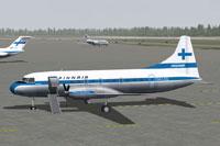 Screenshot of Finnair Convair CV-340 awaiting passengers.