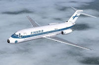 Screenshot of Finnair Douglas DC-9-10 in flight.