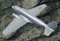 Screenshot of Finnish Air Force Douglas DC-2 in flight.
