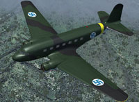 "Screenshot of Finnish Air Force Douglas DC-2 ""DO-1"" in flight."