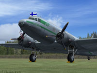 Screenshot of Finnish Air Force Douglas DC-2 on the ground.