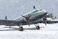 Finnish Air Force Douglas DC-2 getting snowed on.